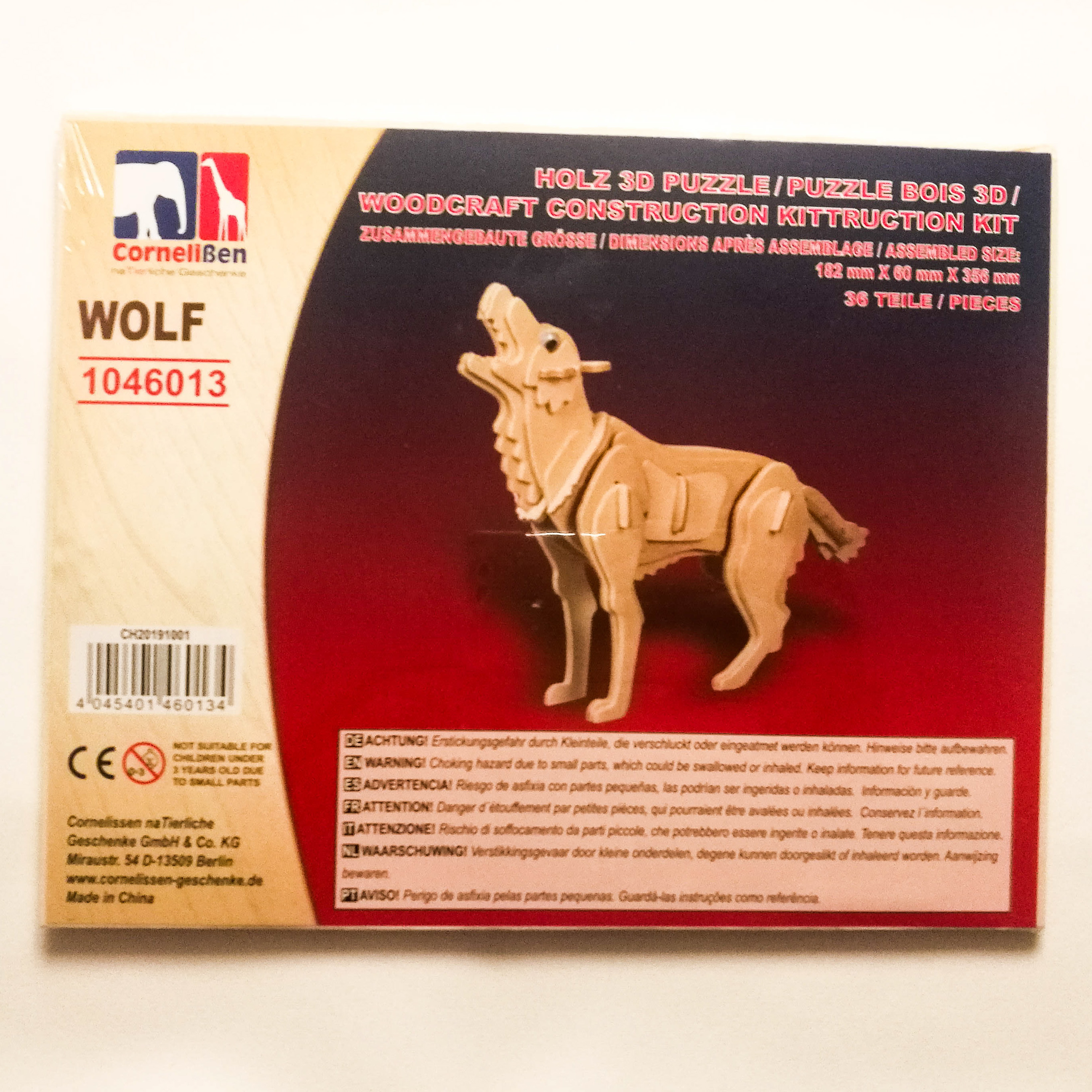 Holz 3D Puzzle Wolf