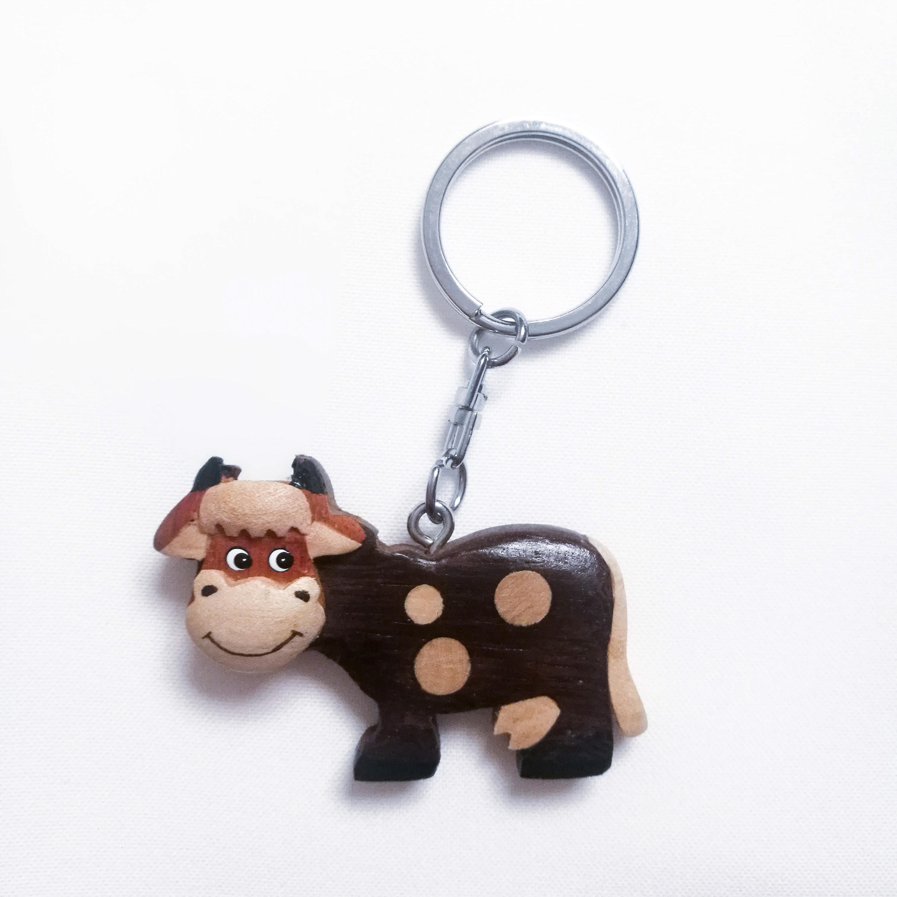 Schlüsselkette aus Holz Kuh