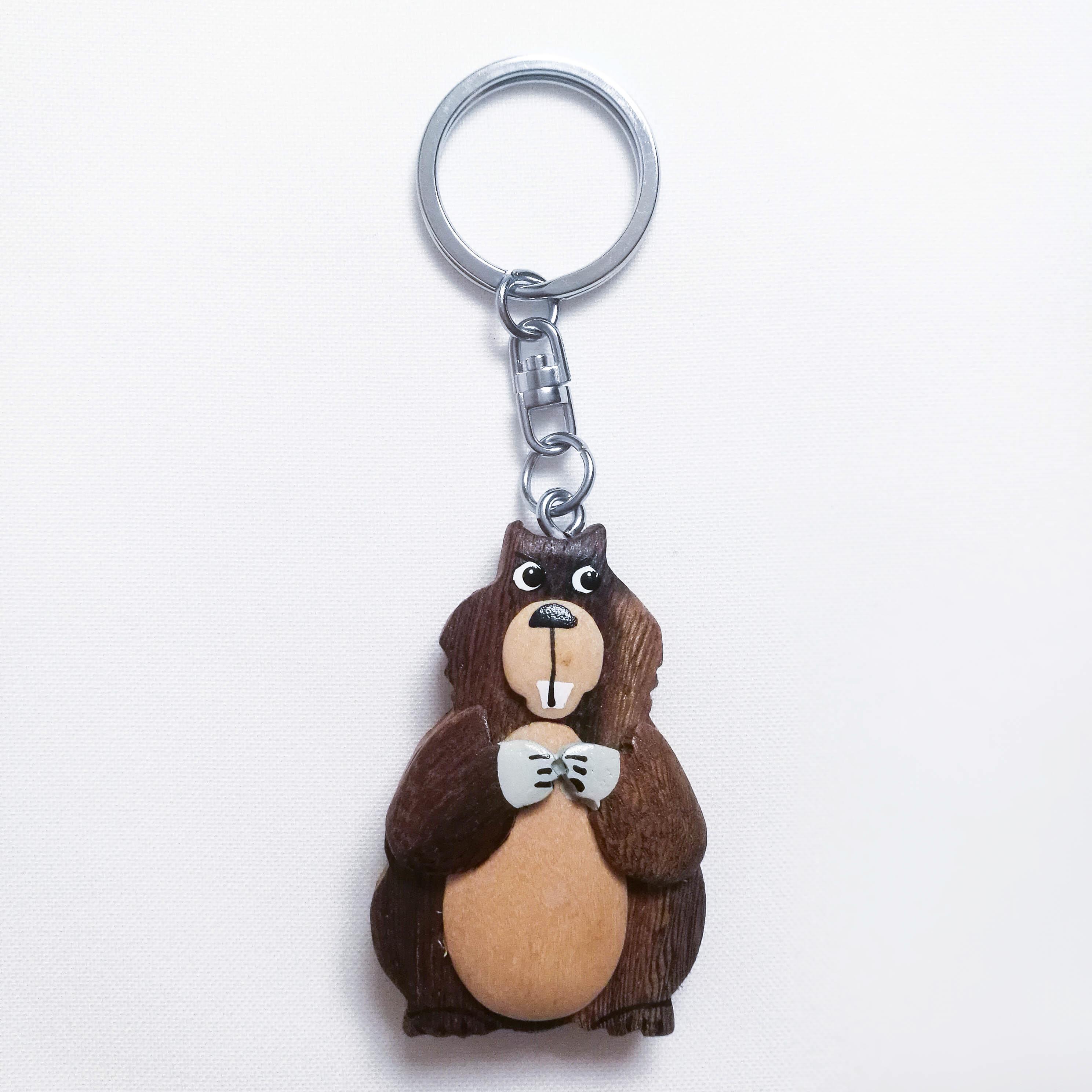 Schlüsselkette aus Holz Murmeltier